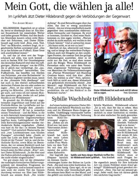 Scan des Artikels in der Hannoverschen Allgemeinen Zeitung zu Dieter Hildebrandt und seiner Haltung zum Fahnenwahnsinn der FIFA-Fußballweltmeisterschaft 2010