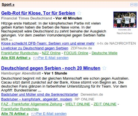 Screenshot aus Google News, Ressort Sport
